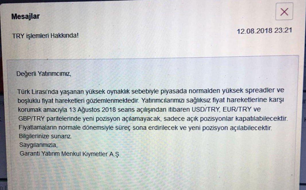 Turkey's Garanti Bank informa a los clientes de la suspensión en el cambio de Lira a dólares y euros [ENG]