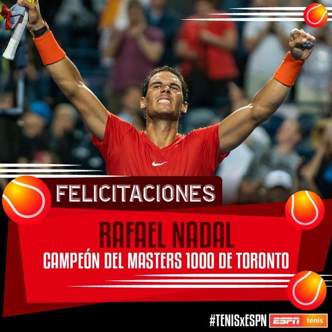 #CampeónSanCristóbal ¡Imbatible! Rafael Nadal derrotó 6-2 y 7-6 (4) a Stefanos Tsitsipas en la final del M1000 de Canadá. Sólido desde el principio hasta el final, simplemente Rafa. 💪💪 Photo
