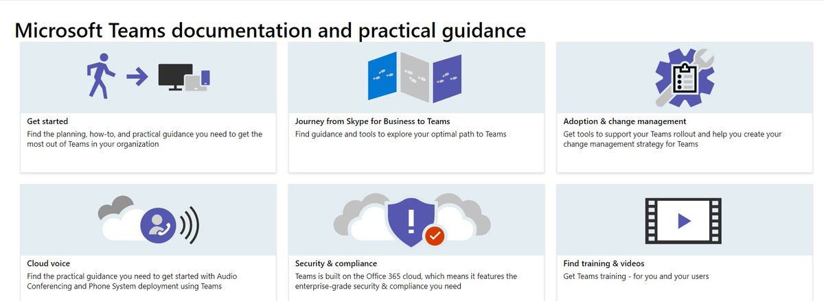 Be sure to check out the latest @MicrosoftTeams documentation, guidance, tips, and training videos for roll out. Details here:  https:// docs.microsoft.com/en-us/Microsof tTeams/Microsoft-Teams &nbsp; …  #edtech #elearning #mieexpert <br>http://pic.twitter.com/UyJKEvE0wS