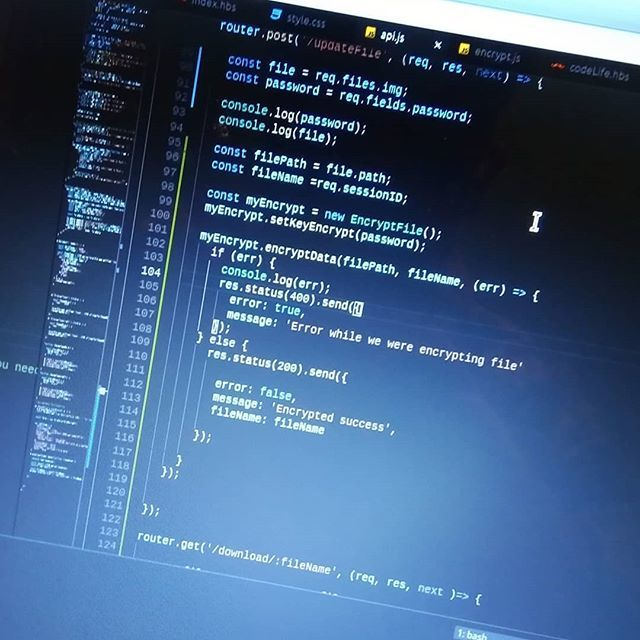 I&#39;m doing great service for encrypt files with nodejs  later I will publish it in my website n.n/ // Estoy haciendo un servicio para encriptar archivo con nodejs de rato lo publicaré en mi sitio web  #javascript #nodejs #js #programming  #codelife  https:// ift.tt/2OvtKCA  &nbsp;  <br>http://pic.twitter.com/kgoebbDsgy
