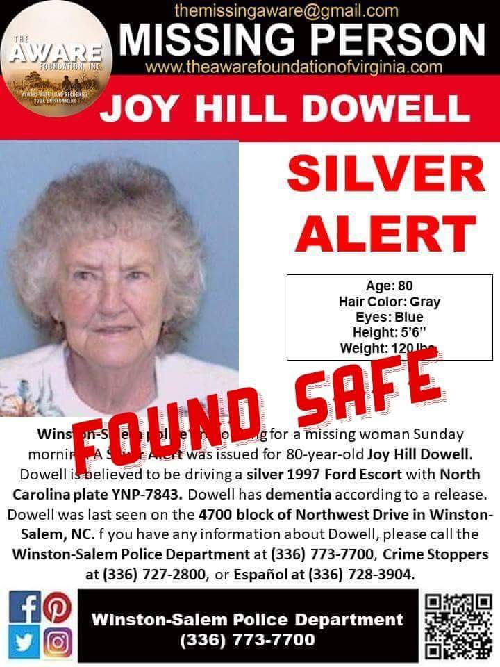 UPDATE: Silver alert canceled for 80-year-old Winston-Salem woman; she has returned home. Thanks again for your help. #theawarefoundation<br>http://pic.twitter.com/MCh4EdAfVs
