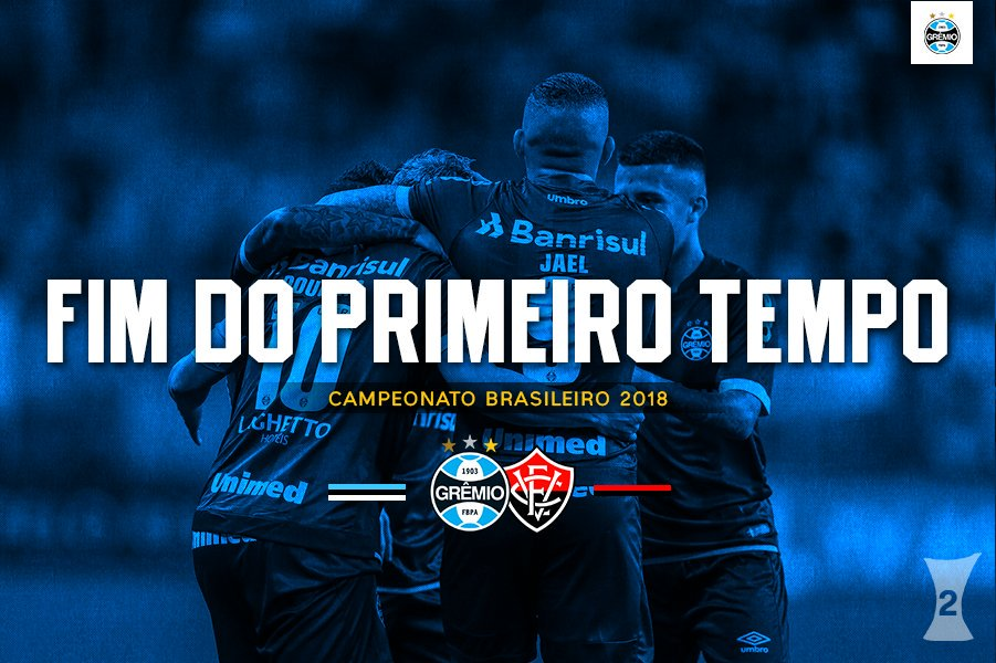 Half time: #Grêmio 2x0 @ECVitoria Goals from Douglas and Jailson, and we&#39;ve got the lead at the break!  #GRExVIT<br>http://pic.twitter.com/dM7sl4Q04i