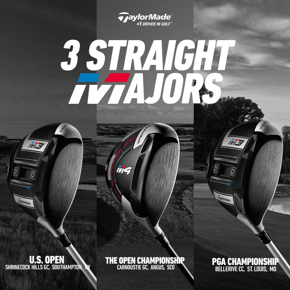 Straight Distance. Straight Majors. #TwistFace takes home 3-straight major championships to close out 2018. #USOpen #OpenChamp #PGAChamp