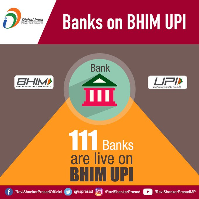 With 111 banks offering digital payment services on BHIM-UPI platform. This innovation of India has gained wide acceptance among the users and financial institutions. #DigitalIndia Photo