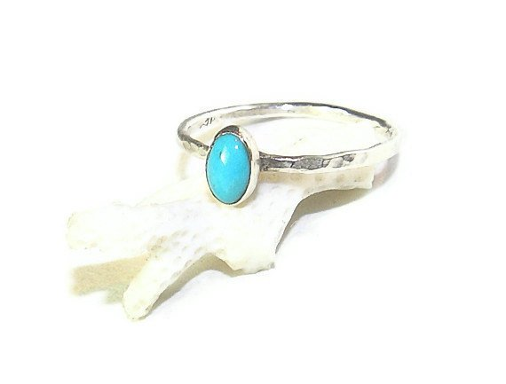 Turquoise Oval in a Dainty Sterling Silver Ring R140 #gemstones #DaintyGemstoneRing Photo
