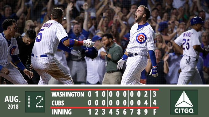 David Bote: Good at clutch 9th-inning home runs. Recap: #EverybodyIn Photo