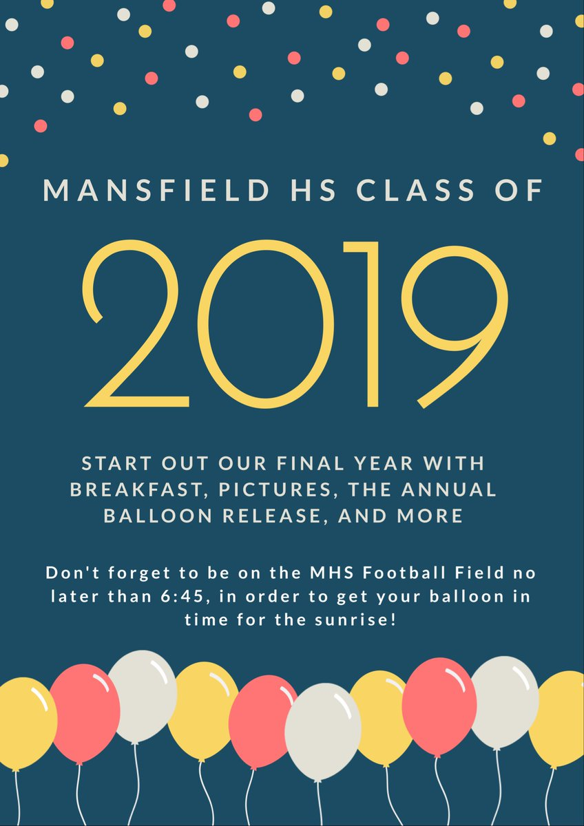 Senior Sunrise - First Day of School! See you Aug 15 on MHS football field, starting at 6:30am.