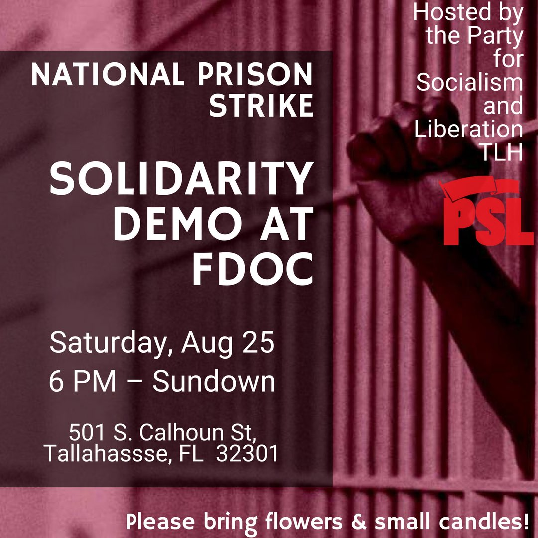 Spread the word – Tallahassee solidarity demo with the #August21 National Prison Strike. We will be hosting a memorial service to honor the 7 incarcerated workers slain at Lee Correctional Institution earlier this year. RSVP now on FB:  https://www. facebook.com/events/4297929 27512261/?ti=icl &nbsp; …  <br>http://pic.twitter.com/rapCJxGxY3