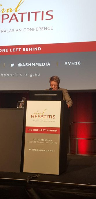 The war on drugs underpins the stigma and discrimination for people living with hepC. Kathryn Leafe. @nznep @HepfoundationNZ #VH18 #nothingaboutuswithoutus Photo