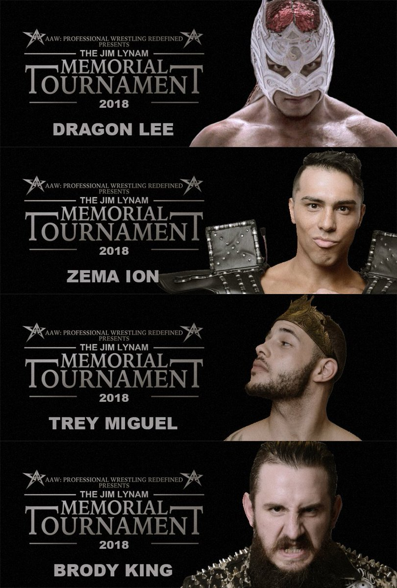 Only 4 spots left in the 2018 Jim Lynam Memorial Tournament on 9/28 &amp; 9/29 at the Logan Square Auditorium. Winner gets an AAW Heavyweight Championship Match at the Windy City Classic. Get your tickets now at  http:// aawrestling.com  &nbsp;  <br>http://pic.twitter.com/HkERFvcFeT