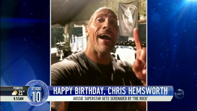The Rock took time out of his workout to wish Chris Hemsworth a very Happy Birthday!