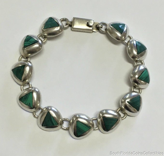 Estate Jewelry Ladies Malachite Bracelet Sterling Silver Mexico  Long Photo