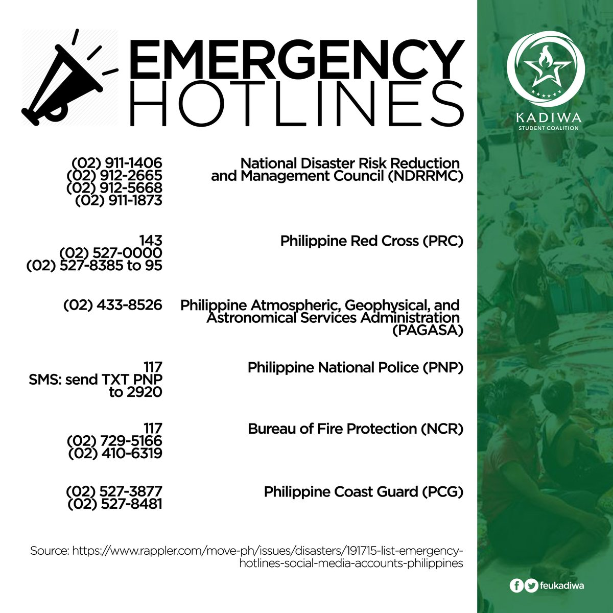 [EMERGENCY HOTLINES] In light of the recent heavy downpour that has been causing floods and blackouts, here are the emergency hotlines that you can contact.   Feel free to save these as you will never know when it will come handy.  Stay alert and safe, Kadiwa!   #KardingPH<br>http://pic.twitter.com/MjA2ewOB8m