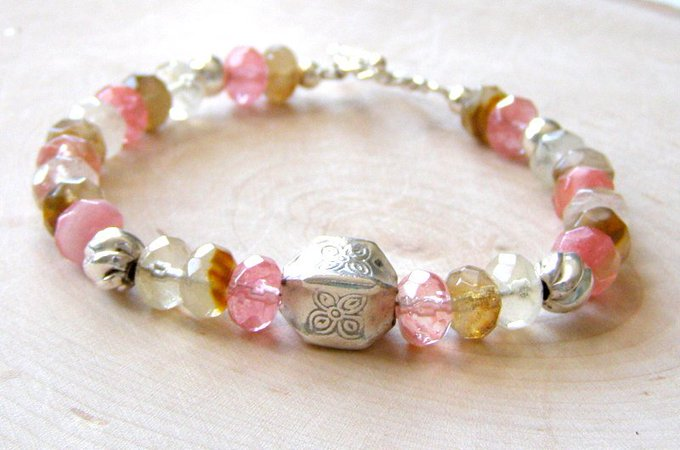 Cherry Quartz Beaded Bracelet, Watermelon Pink Gemstones, Sterling Silver Toggle Clasp, Dainty Quartz Fashion Bracelet, Unique Gift for Her #jetteam #etsymntt Photo