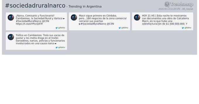#sociedadruralnarco es ahora una tendencia en Argentina Foto
