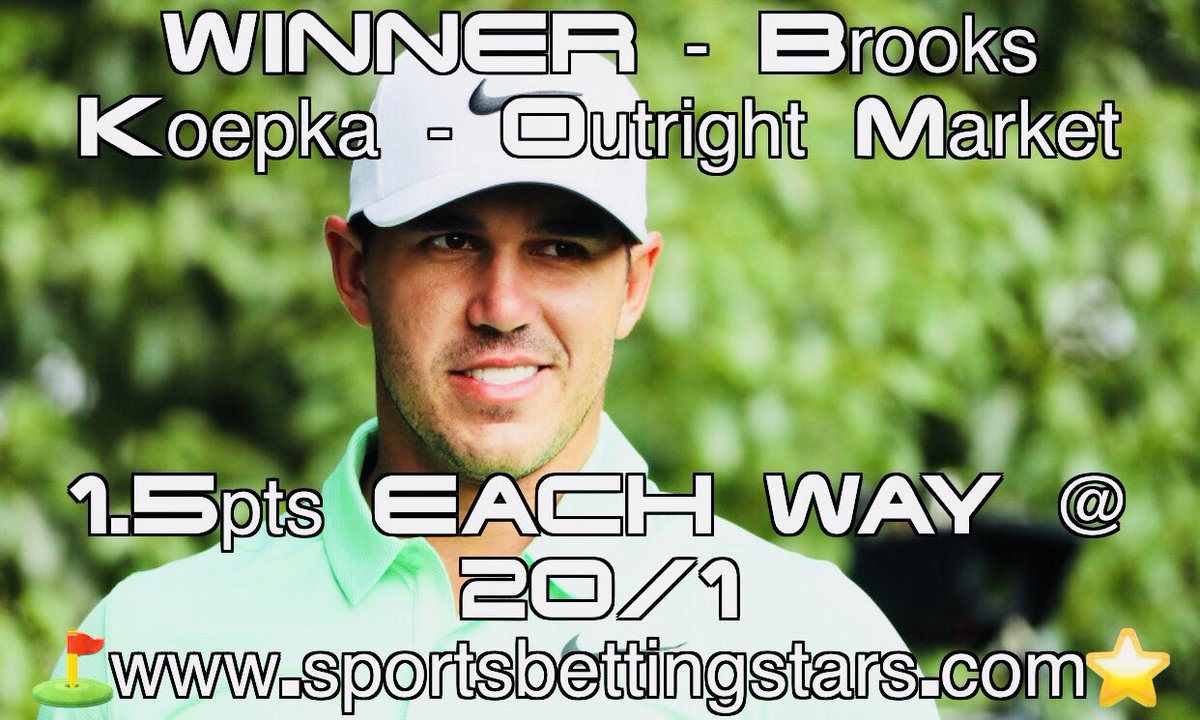 WINNER  of The @PGAChampionship 2018 @ 20/1, by 2 shots - BROOKS KOEPKA  39pts Returned from just a 3pt Outlay  #GolfBetting #Profit  http://www. sportsbettingstars.com  &nbsp;  <br>http://pic.twitter.com/civ5KXZXG8