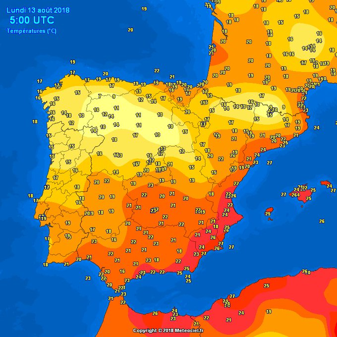 #Iberia temps at 7am, 13/08 - and coolest remain over the North Interior with 9C at Pajares and 10C in Palacios de la Sierra - compared to a very warm night again along the Mediterranean Costas with warmest Águilas & #Murcia with 27C!! Foto