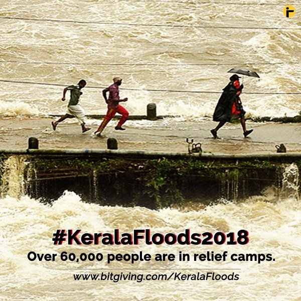 #KeralaFloods2018 | More than 60,000 people have been lodged in various relief camps across 14 districts. Many of them are scared to return, many are clueless about where to go and many are yet to get over their loss. You can help by contributing here: https://t.co/OvAupsMJs7 https://t.co/I8JfywzUy1