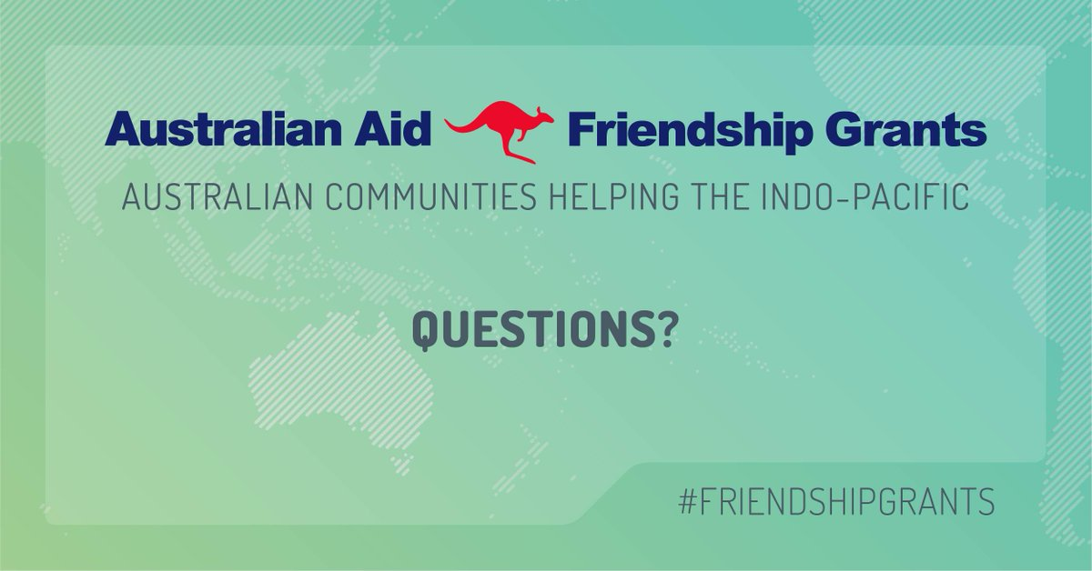 The #AustralianAid #FriendshipGrants will help organisations doing aid and development work in the Indo-Pacific. Questions about Friendship Grants? There's one more week to ask us at FriendshipGrants@dfat.gov.au #HelpingOthers #AusSDGs
