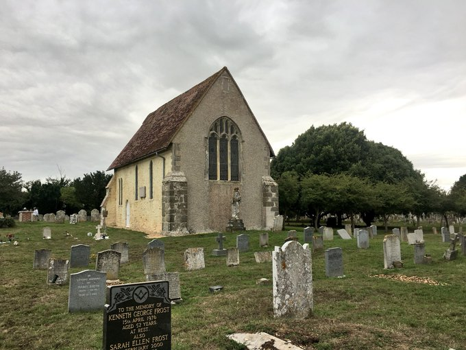 Weekend discovery: St Wilfred's Chapel at Pagham Harbour. A strange looking church in a large graveyard, turns out it is the chancel of a larger church that was moved in the 1860s, also the site of the original Cathedral of Sussex. @TheCCT Photo