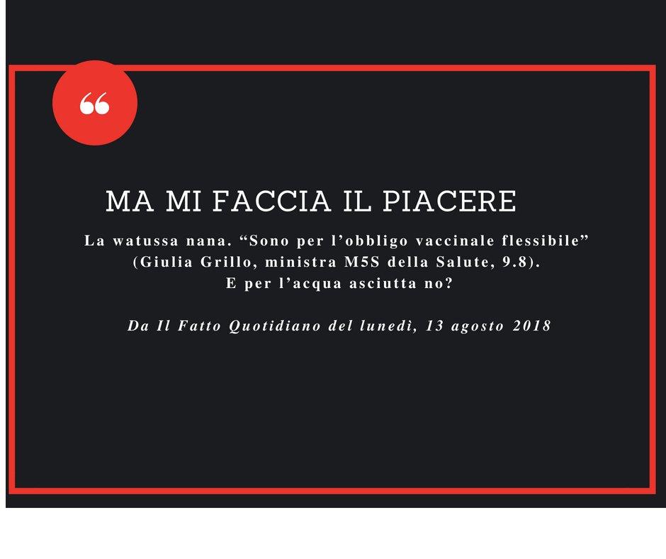 """MA MI FACCIA IL PIACERELa watussa nana. """"Sono per l'obbligo vaccinale flessibile"""" (Giulia Grillo, ministra M5S della Salute, 9.8). E per l'acqua asciutta no? #FattoQuotidiano #13agosto [Continua su http://ilfattoquotidiano.it/premium/ ]  - Ukustom"""