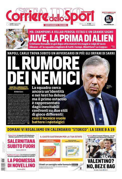 #Rassegnastampa sportiva di #lunedì #13agosto, #Ancelotti già criticato dalle vedovelle di #Sarri. E non stiamo nemmeno a metà agosto... #Nzonzi #Pellegrini #CoppaItalia #Lazio #SerieA #Napoli https:// www.napolicalciolive.com/2018/08/13/rassegna-stampa-13-agosto-2018-ancelotti/  - Ukustom