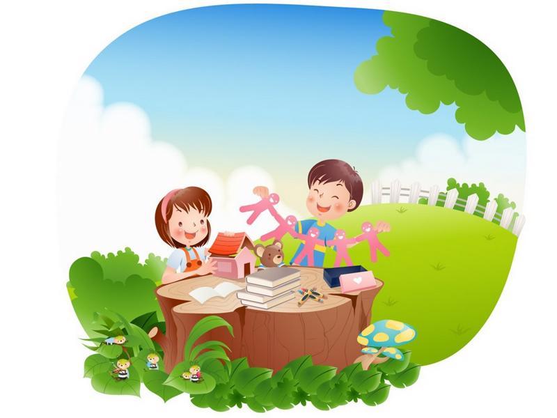 Картинки дети на природе рисованные