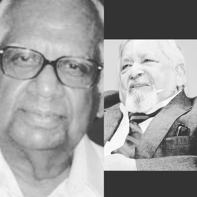 Sir Somnath Chatterjee (former Lok Sabha Speaker of India) and Sir Naipaul (Nobel Prize-2001 winner for Literature).My respect 🙏🌼 Photo