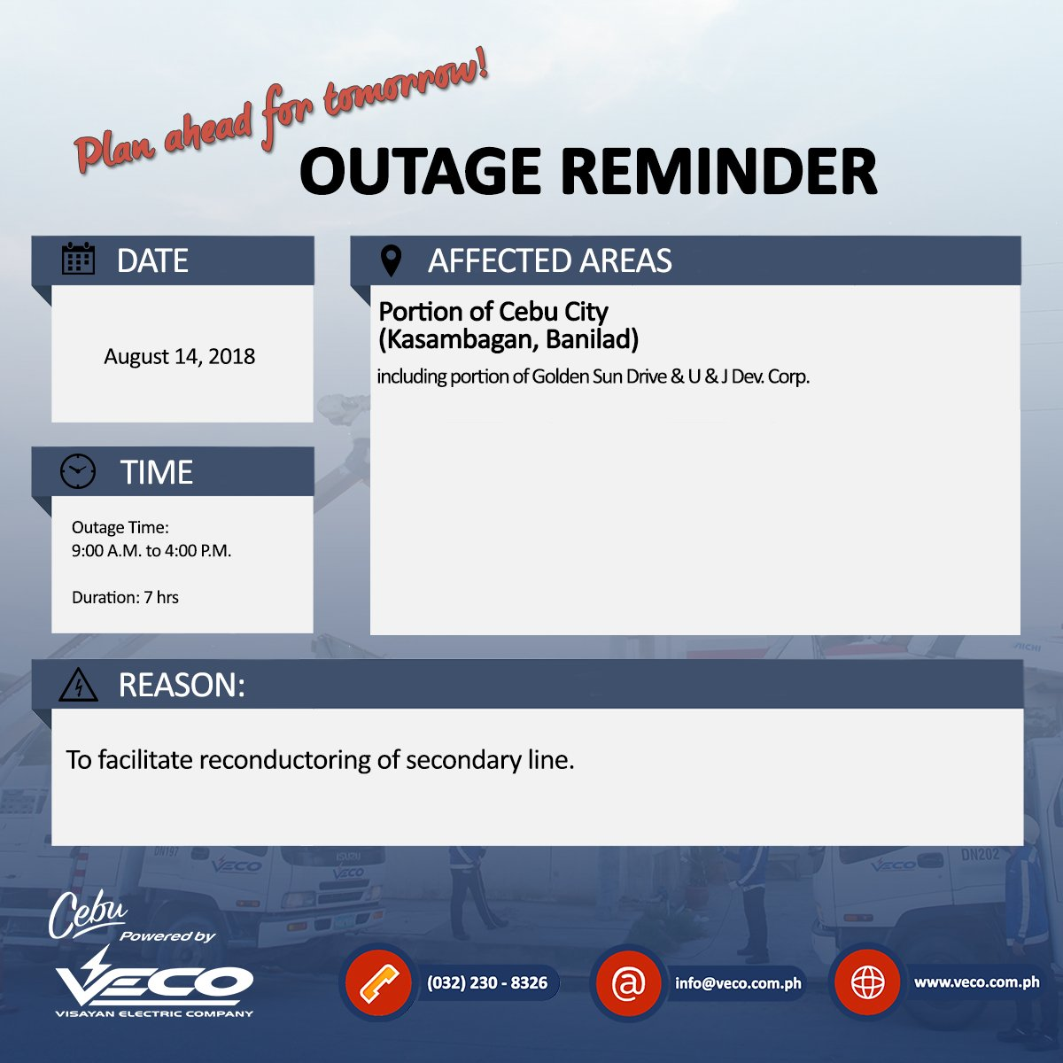 VECO - Please be reminded of the scheduled power outage