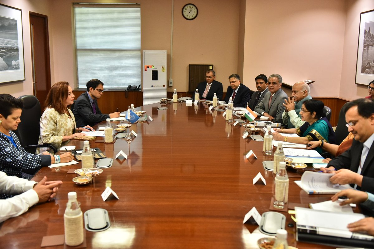 EAM @SushmaSwaraj and UNGA President-elect @mfespinosaEC held wide ranging discussions on revitalization of the @UN, including reform of the UN Security Council, strengthening global counter terrorism legal framework and other global issues.