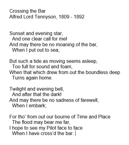 The Poetry Society On Twitter Vs Naipaul Died Peacefully After Reading Crossing The Bar By Tennyson Sunset And Evening Star And One Clear Call For Me And May There Be No Moaning
