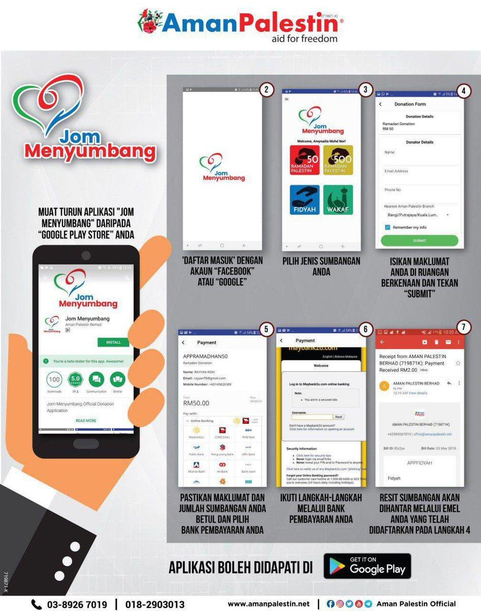 Jom muat turun aplikasi Jom Menyumbang ke dalam telefon pintar anda melalui google play. Aplikasi ini hanya tersedia dalam android sahaja. Kini boleh menyumbang di hujung jari sahaja. Jom menyumbang. Mudah dan Pantas. #JomMenyumbang