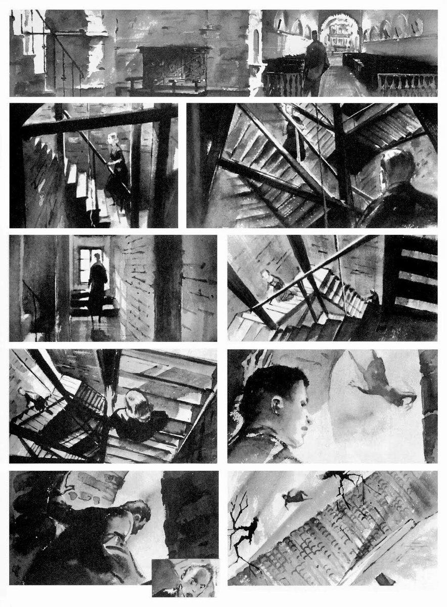 Alfred Hitchcock's films.  Storyboards.  Vertigo (1958). North by Northwest (1959). Psycho (1960). The Birds (1963). <br>http://pic.twitter.com/nWtr5oALA9