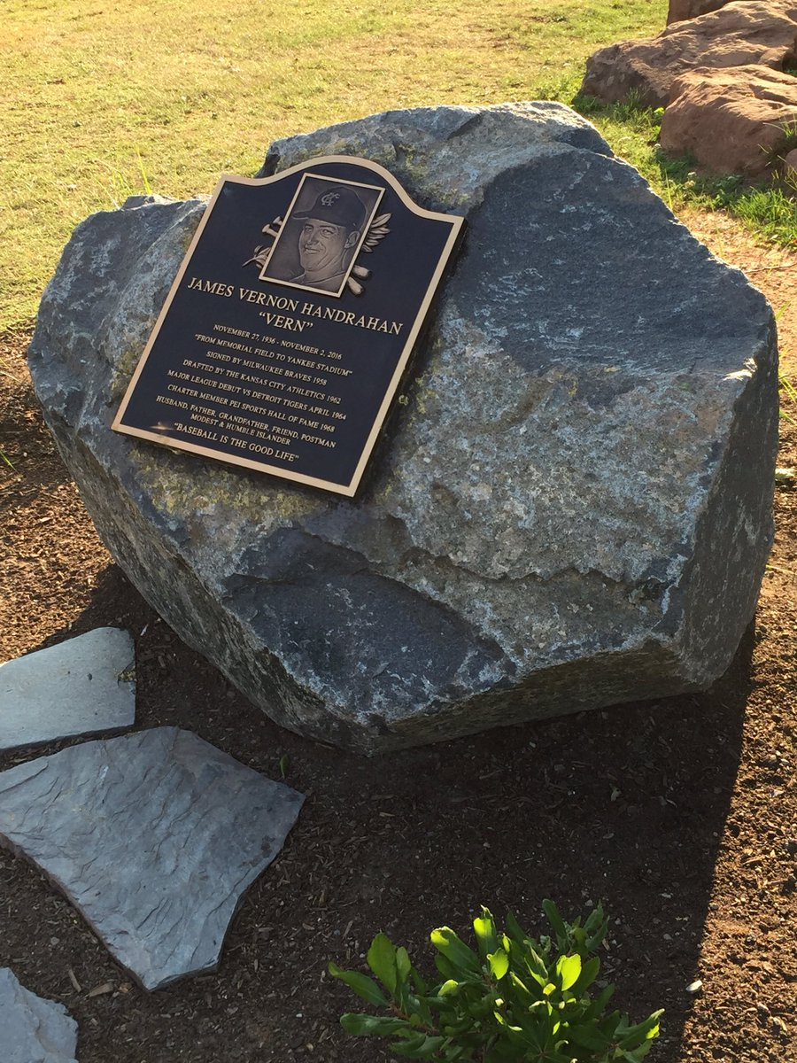 The Vern Handrahan (PEISHOF 1968) monument is now complete with the plaque honouring the PEI baseball great who pitched in 1964 &amp; 1966 for the Kansas City Athletics in the A.L. The monument is found  in left field at Memorial Field, Charlottetown.  #PEI<br>http://pic.twitter.com/TiLKuIVGya