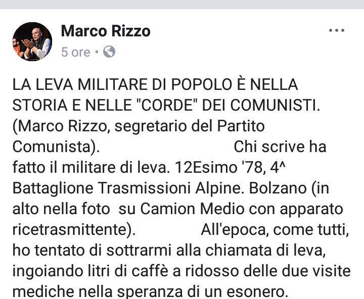 Lo dice un #Comunista vero.E danno del #Fascista a #Salvini perché vuole ripristinare la leva militare, per insegnare un po di sani principi ai giovani.Che oggi sono degli sbandati senza ideali sociali.  - Ukustom