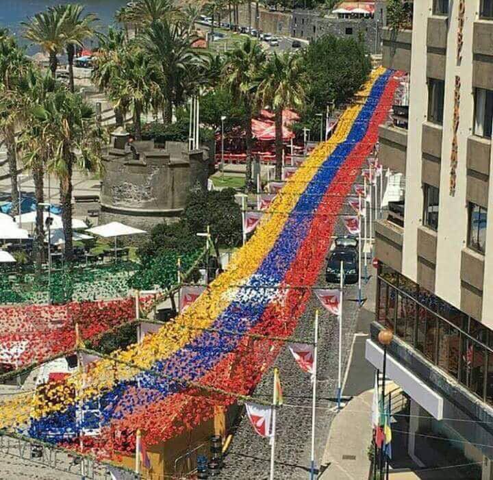 Camino de flores con nuestra bandera, en las fiestas de Madeira, lo hicieron portugueses agradecidos con Venezuela. Vía @eleonorabruzual https://t.co/yzOvt9QOVc