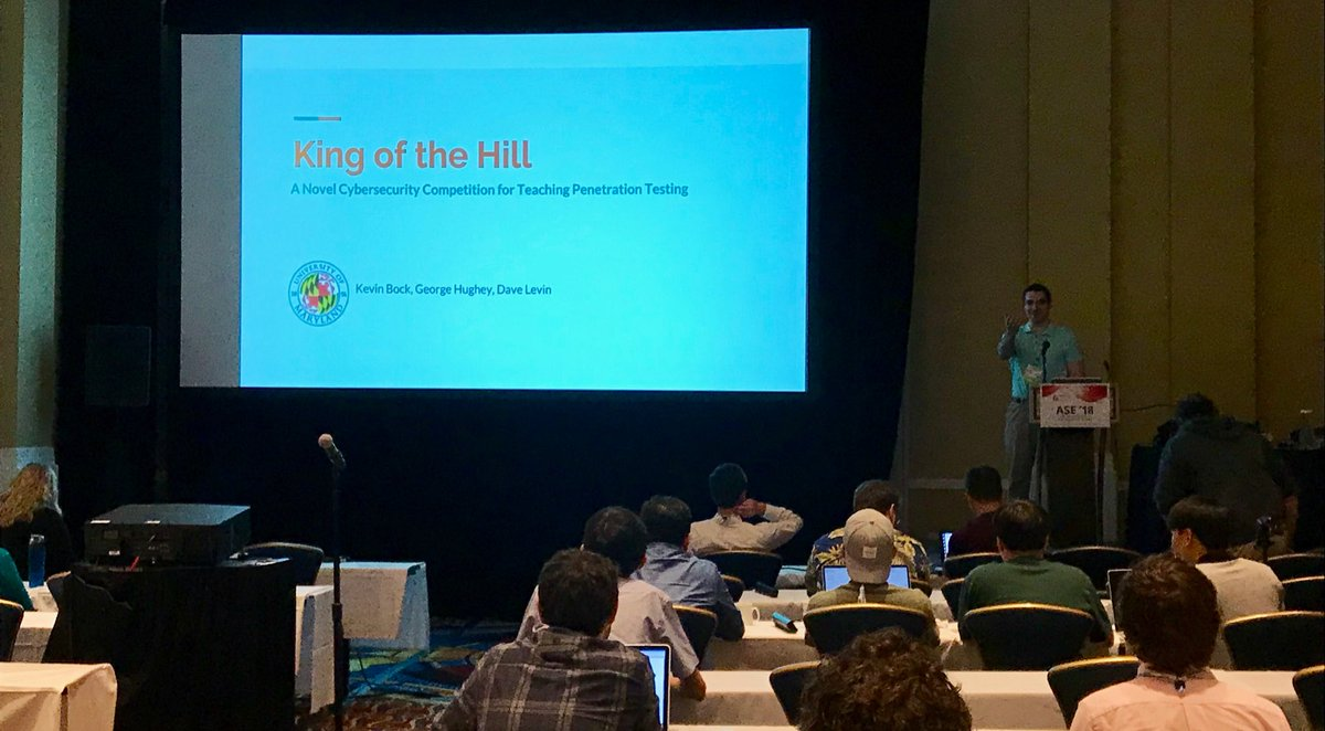 My student Kevin Bock presenting our paper on King of the Hill, a new cybersecurity competition to teach pentesting, at @USENIXSecurity ASE. Kevin and George Hughey used KotH in the @ACES_UMD class they taught last spring. Check it out: koth.cs.umd.edu