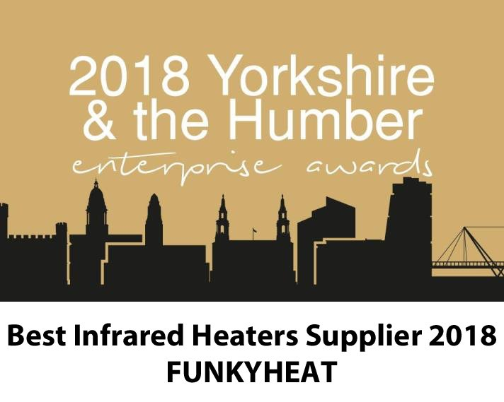 Another award for Funkyheat award winning infrared heating: Best Infrared Heater Supplier (2018). Yorkshire and the Humber Enterprise Awards #awardwinninginfraredheating #infraredheating #infraredheaters