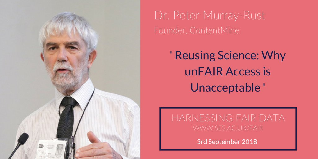 test Twitter Media - From @TheContentMine and @ChemCambridge, we're pleased to add @petermurrayrust to our programme of speakers at Harnessing FAIR Data. Dr. Rust will be talking 'Reusing Science' on September 3rd. Registrations are still open: https://t.co/Ac0d06Rm16 https://t.co/6njDbkY6cG
