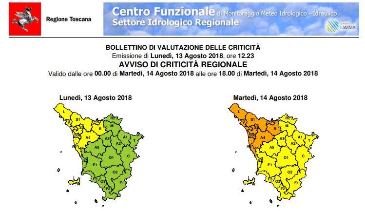 """#allertameteoTos #Pistoia Emesso un avviso di criticità """"arancione"""" per piogge e temporali sul nostro territorio dalle 00.00 alle 18.00 di martedì 14 agosto https://bit.ly/2P2aTQB  - Ukustom"""