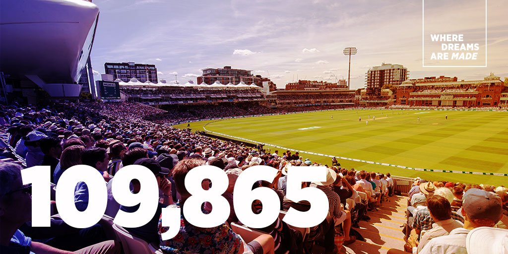 🙌 Over 100,000 of you came to Lord's during the #ENGvIND Test match.  We thank you all so much.  #LoveLords