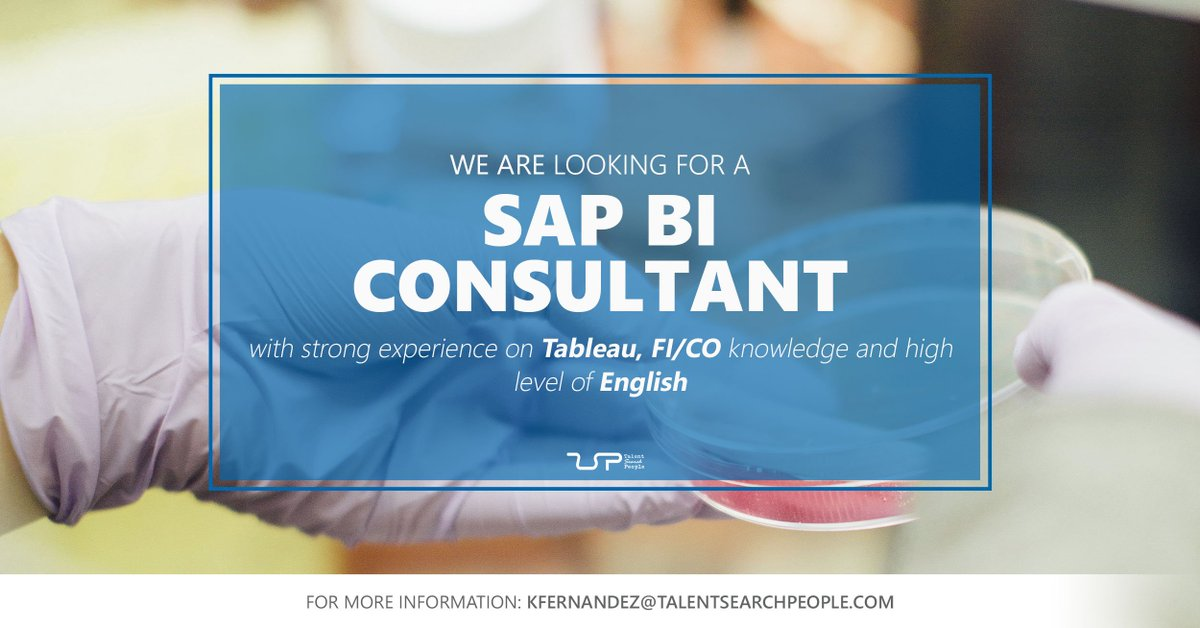 We are looking for a #SAPBIConsultant with strong experience on Tableau, FI/CO knowledge to join a multinational company specialized in the #chemical and pharmaceutical sector based in #Barcelona http://goo.gl/y9kBVopic.twitter.com/LWAL2vHmIK