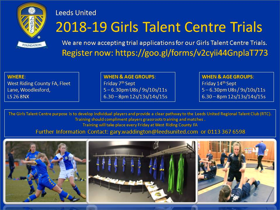 We are building on last season success and can announce we are now accepting applications for our Girls Talent Centre trials. The purpose of the centre is to develop individual skill and provide a clear pathway to the @LeedsunitedRTC<br>http://pic.twitter.com/PqWyYVcJ6p