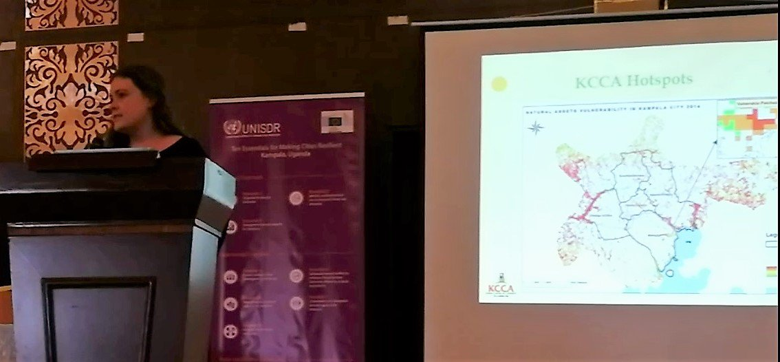 The #UNARivers team, with Mr. Nabaasa from @MakerereU, showcasing Natural Asset maps of #Kampala & role of #nature in disaster risk reduction at @KCCAUG's Stakeholder Engagement on Disaster Risk Reduction Mgmt in #Kampala    #KCCA #UNISR #SendaiFramework #MakingCitiesResilient