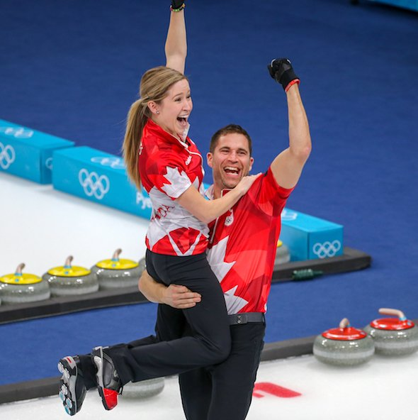 6 months ago, @LKLawes and @johnnymocurler won the first #mixeddoubles #curling #Olympic #gold in #PyeongChang2018 ! #TeamCanada<br>http://pic.twitter.com/DBgLOeNHud