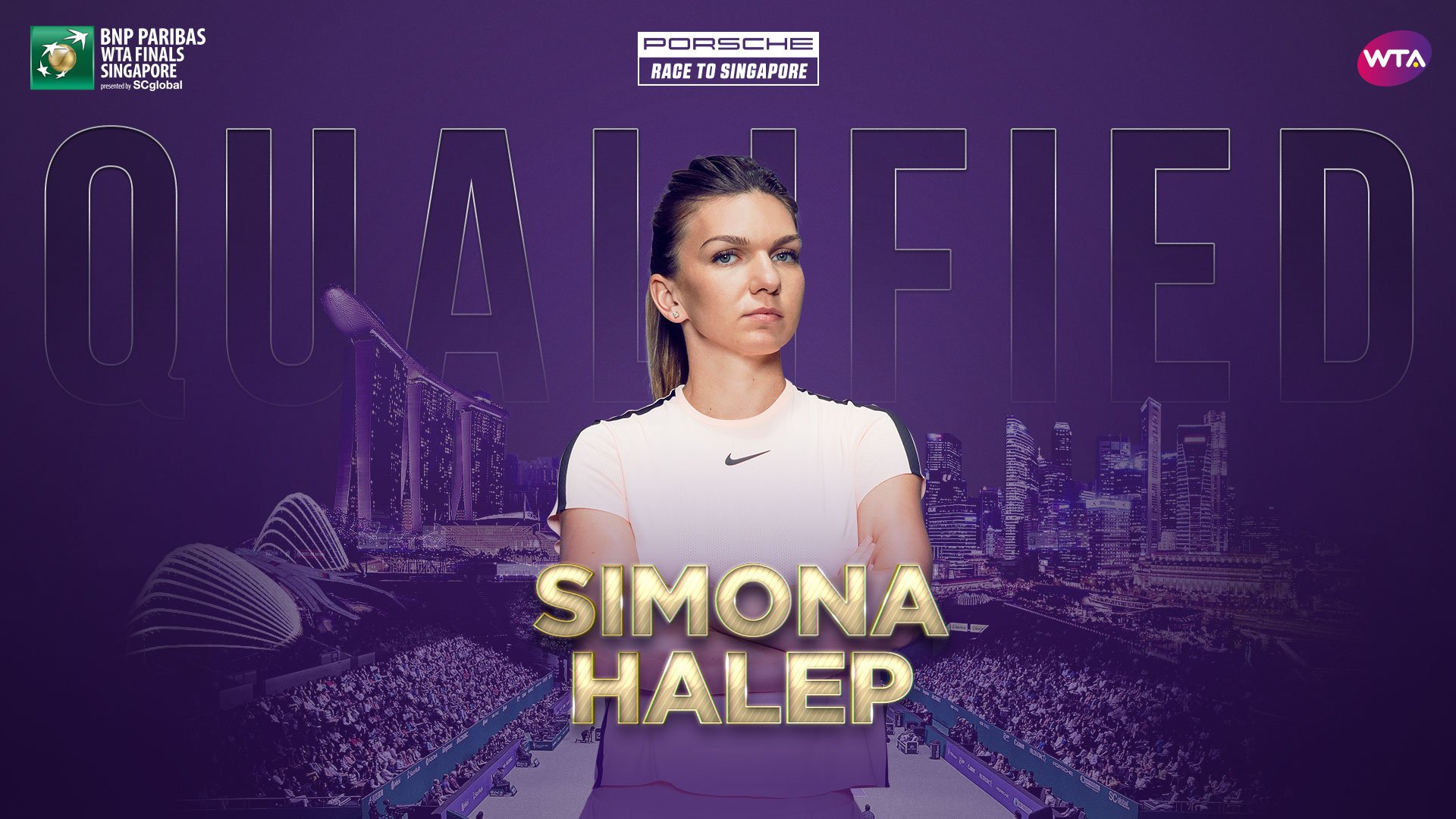 .@Simona_Halep is the first player to qualify for @WTAFinalsSG--> https://t.co/1Fe5kBZoYJ  @Porsche https://t.co/gIhBlxE4MW