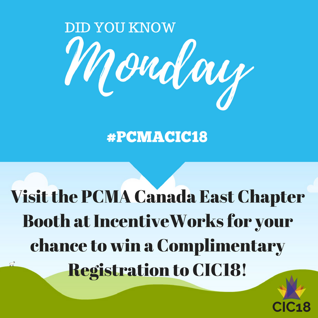 #PCMACIC18 registration is up for grabs, and all you have to do for your chance to win is stop by our booth at @Incentive_Works! PS, if you didn&#39;t already know, this year&#39;s Canadian Innovation Conference is in British Columbia <br>http://pic.twitter.com/lLvbJzZqyI