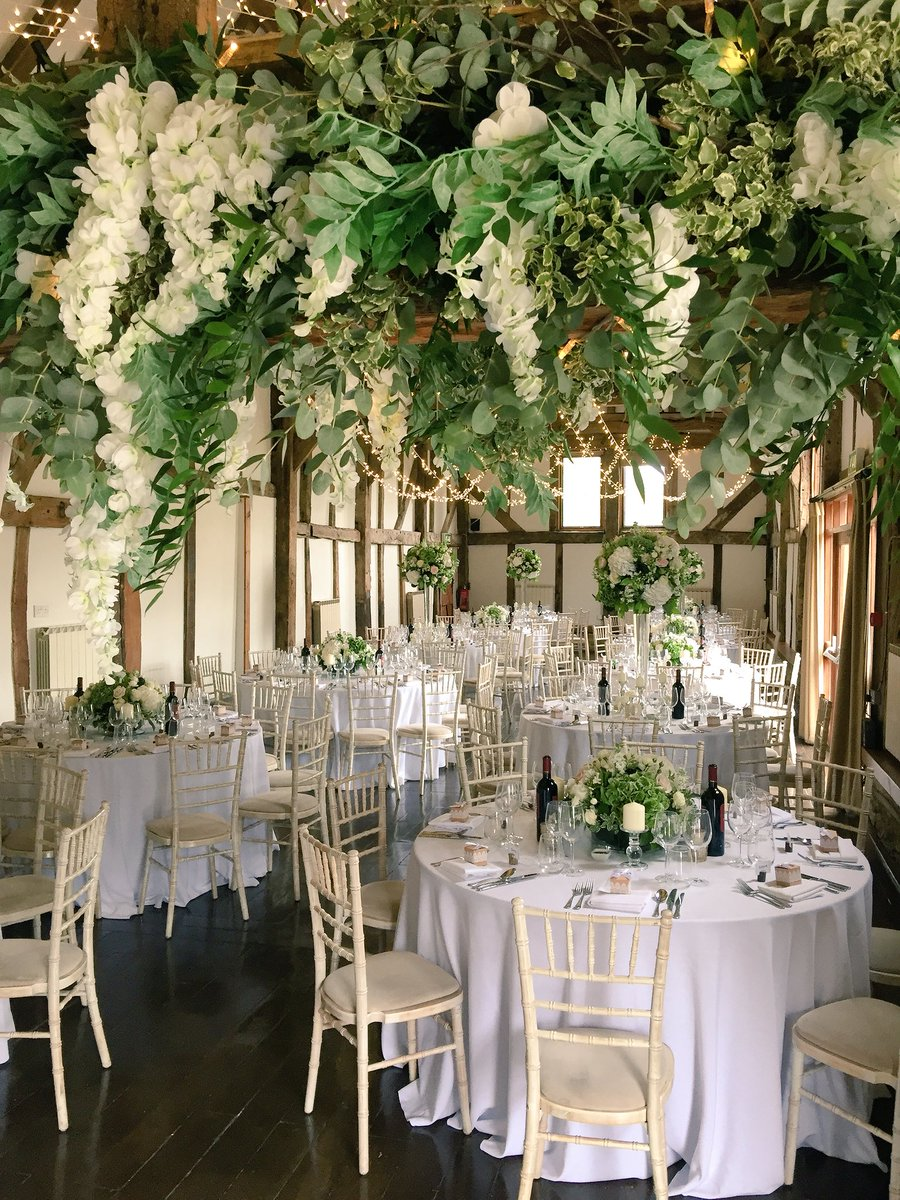 Another stunning floral display from @_whitelilac ! #wedding #barnwedding #weddingideas #weddingflowers #whiteflowers #tablecentrepiece #fairylights