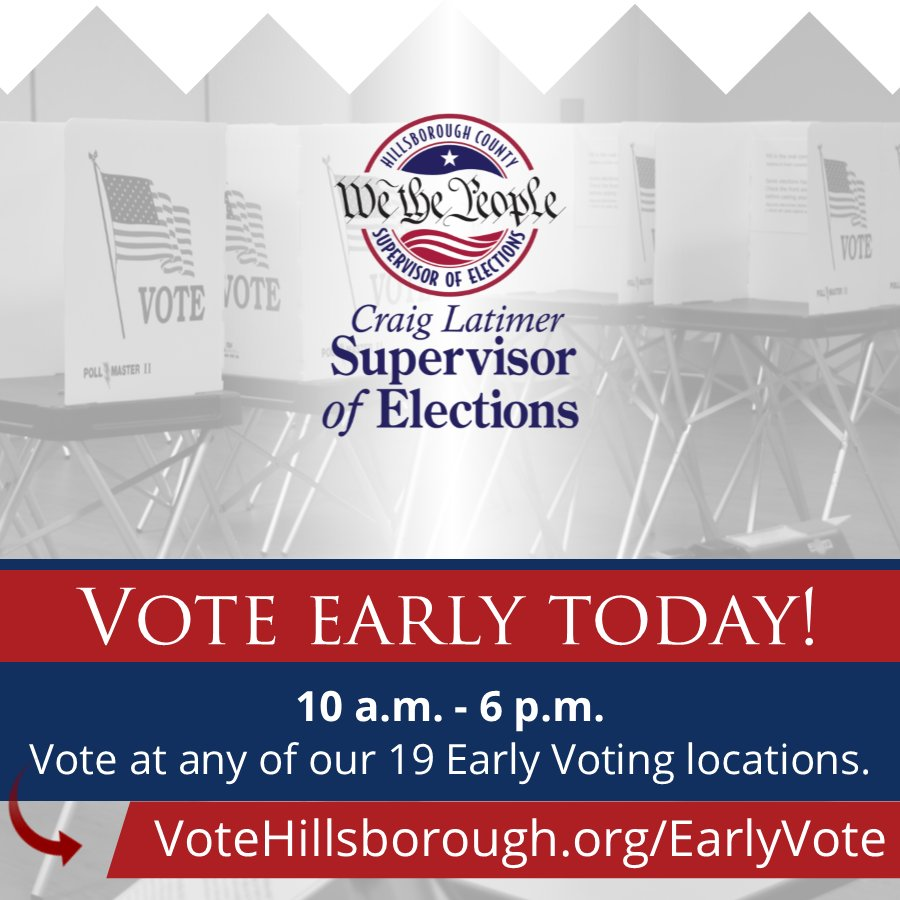 Early Voting starts TODAY in Hillsborough County! Hillsborough County voters can vote at any of our 19 Early Voting locations, open daily through Aug. 26, 10 a.m. – 6 p.m.  To find a location near you, visit  http:// VoteHillsborough.org/EarlyVote  &nbsp;   #Midterms2018 #VoteHillsborough<br>http://pic.twitter.com/N6ZAlEp6qb
