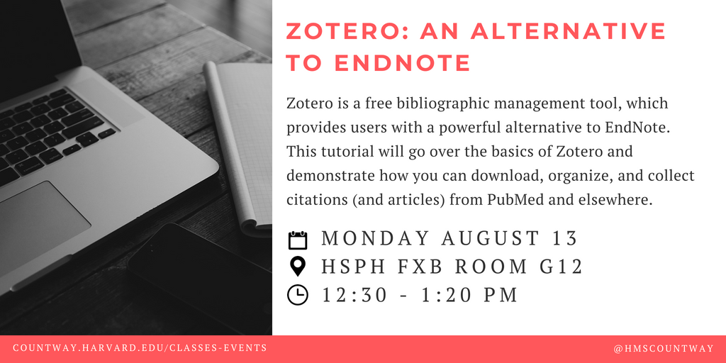 *Today* Zotero: An Alternative to EndNote   Monday 8/13  12:30pm   @HarvardChanSPH FXB G12   https:// buff.ly/2OgDK2i  &nbsp;  <br>http://pic.twitter.com/cpwhSumCHo
